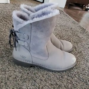 UGG gray lace up boots